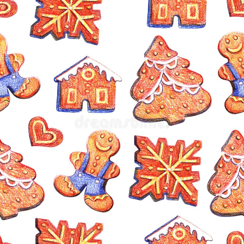 Nahtloses Muster des Weihnachtslebkuchens Ingwerplätzchen auf blauem Hintergrund Netter Weihnachtshintergrund für Tapete, Geschen lizenzfreie abbildung