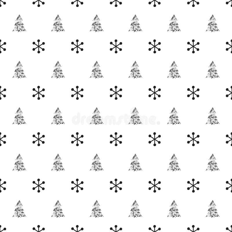 Nahtloses Muster des Weihnachtsneuen Jahres mit SchneeflockenWeihnachtsbaum Gelbe und rote Farben Weihnachtswinterdekoration Silb stock abbildung