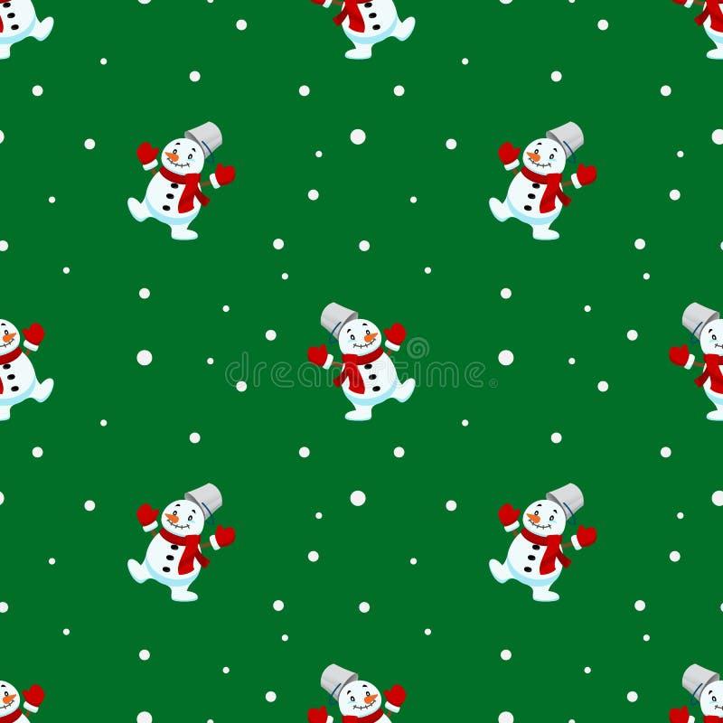 Nahtloses Muster des Weihnachtsschneemannes und der Schneeflocke wiederholbar, ununterbrochener Hintergrund für Feiertagsfeier vektor abbildung