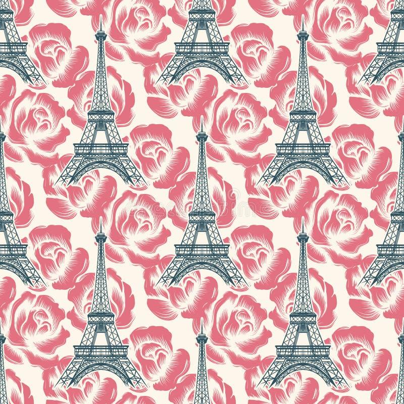 Nahtloses Muster des Weinlese-Eiffelturms vektor abbildung