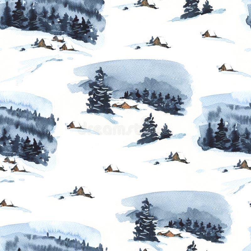 Nahtloses Muster des Weinlese-Weihnachtsaquarells mit gemütlicher Waldwinterlandschaft stock abbildung