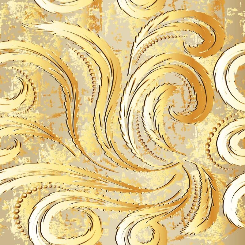Nahtloses Muster des Weinlesegoldbarocken Vektors 3d stock abbildung