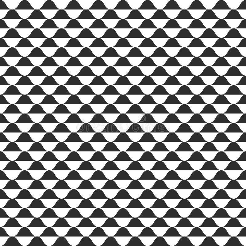 Nahtloses Muster des Wellenvektors, curvy gewellter Schwarzweiss-Hintergrund stock abbildung