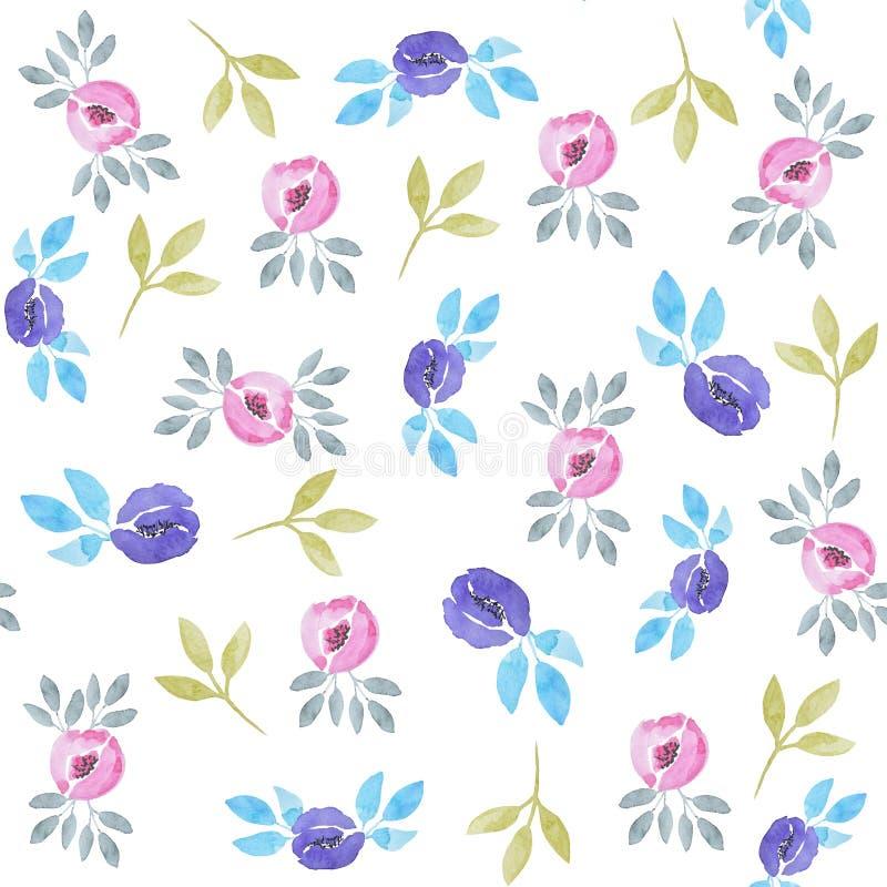 Nahtloses Muster des Wildflowersaquarells Rosen und Bl?tter drucken lizenzfreie abbildung