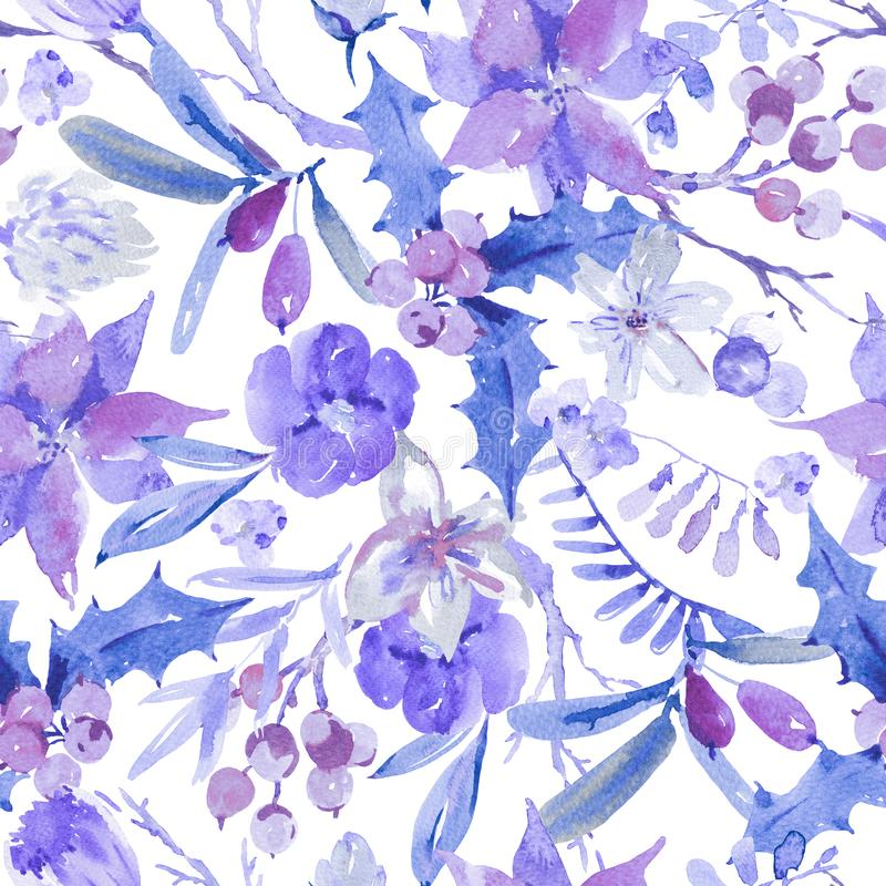 Nahtloses Muster des Winterblumenaquarells mit Niederlassungen, Stechpalme stock abbildung