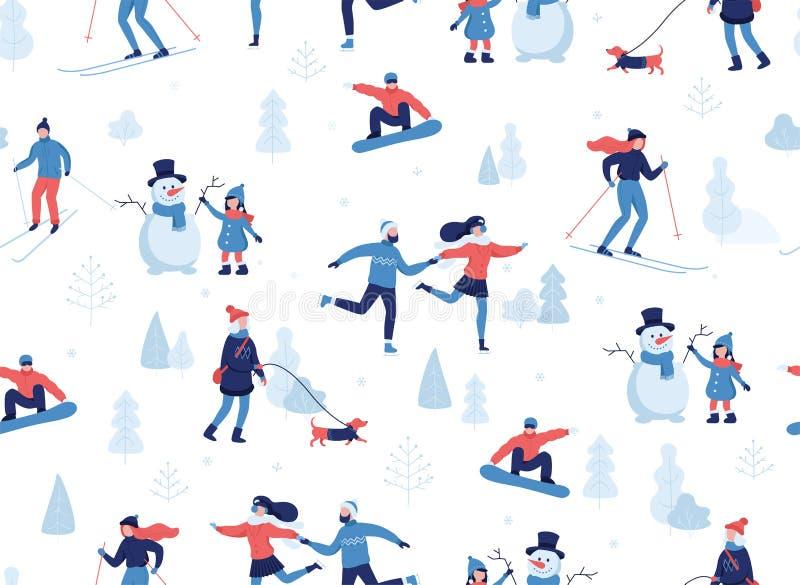 Nahtloses Muster des Winters Leute, die Winterbetriebe im Park, Skifahren, laufend, Snowboarding, Mädchen haben, das den Hund geh lizenzfreie abbildung