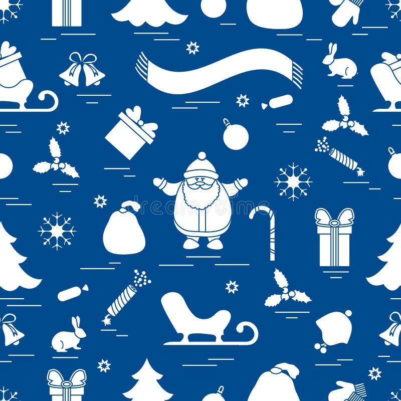Nahtloses Muster des Winters mit Vielzahl Weihnachtselementen: Baum, lizenzfreie abbildung