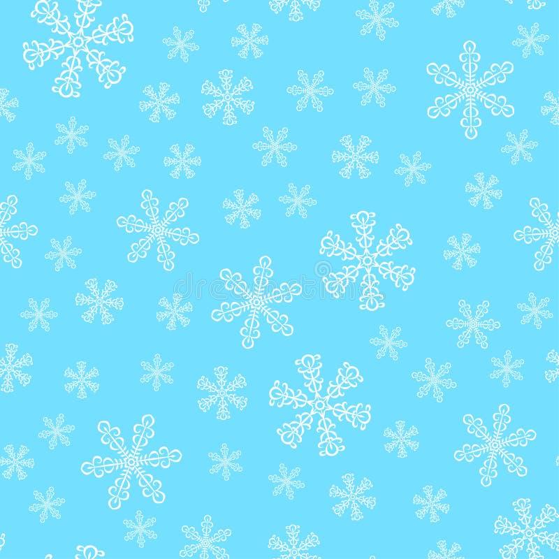 Nahtloses Muster des Winters mit weißen Schneeflocken auf hellem blauem BAC stock abbildung