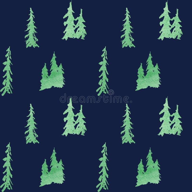 Nahtloses Muster des Winters Smaragd-shain im Wald lizenzfreie abbildung