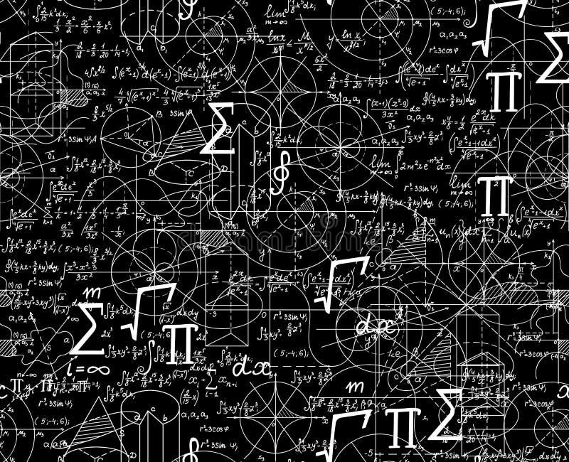 Nahtloses Muster des wissenschaftlichen Vektors Mathe mit Formeln, Zahlen, Pläne zusammen geschlurft vektor abbildung