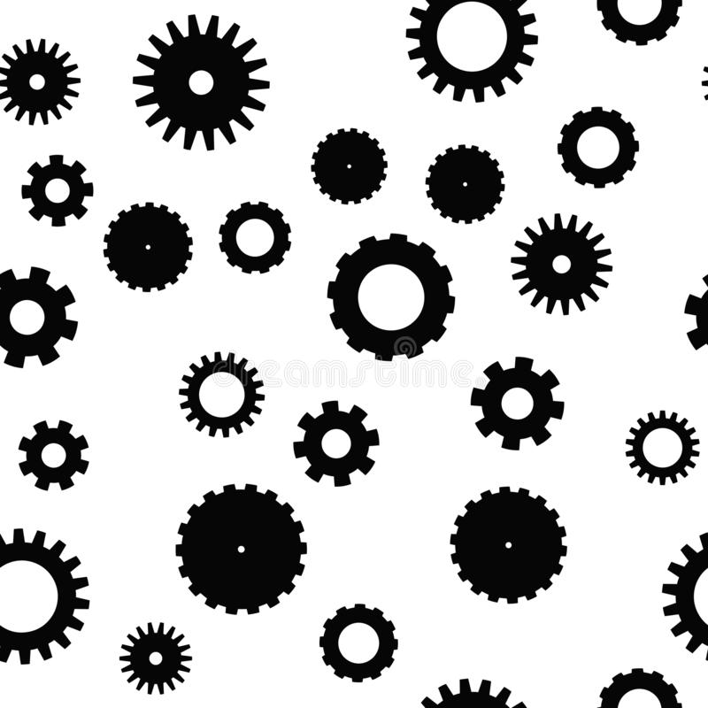 Nahtloses Muster des Zahnrades Uhrwerk-, technologisches oder industriellesthema Flacher Vektorhintergrund in Schwarzweiss stock abbildung
