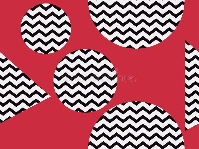 Nahtloses Muster des Zickzacks mit schwarzer und roter Farbe Abstrakter geometrischer Hintergrund mit Kreisen Vektor stock abbildung