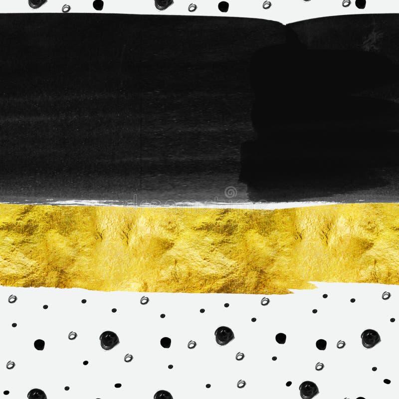 Nahtloses Muster des Zusammenfassungsaquarells - Goldfolienstreifen mit schwarzen Flecken auf weißem Hintergrund stock abbildung