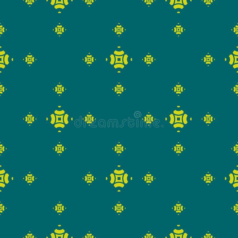 Nahtloses Muster des Zusammenfassungsgeometrischen Blumenvektors in der dunkelgrüner und Kalkfarbe vektor abbildung