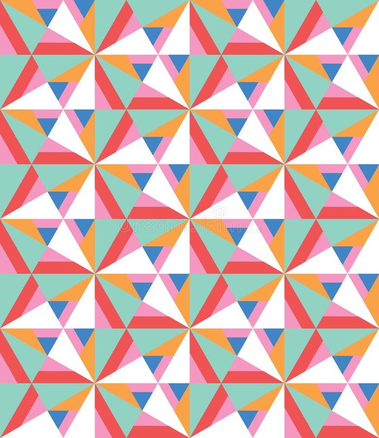 Nahtloses Muster des Zusammenfassungsvektors mit verschiedenen Dreiecken und Formen Moderne Mosaikbeschaffenheit in der flachen A vektor abbildung