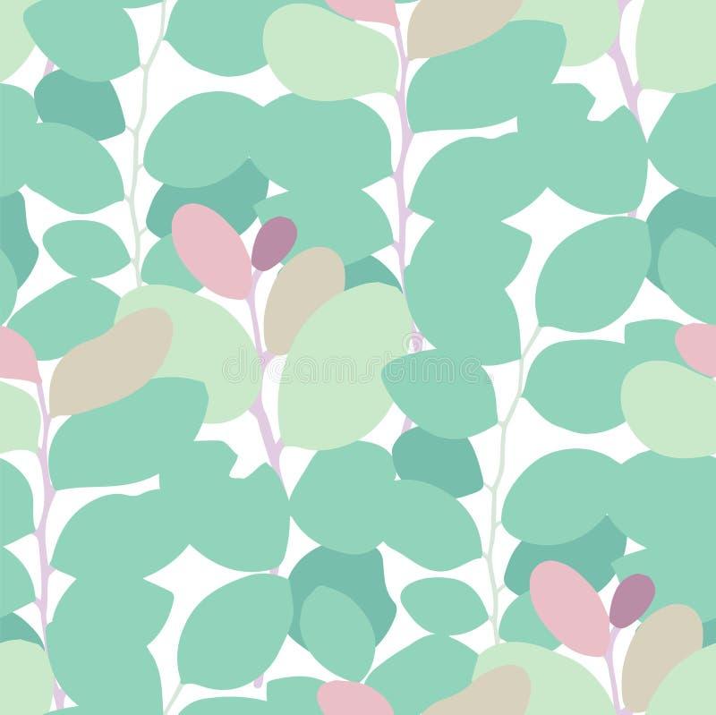 Nahtloses Muster des Zusammenfassungsvektors von exotischen Blättern in den klaren Farben lizenzfreie abbildung