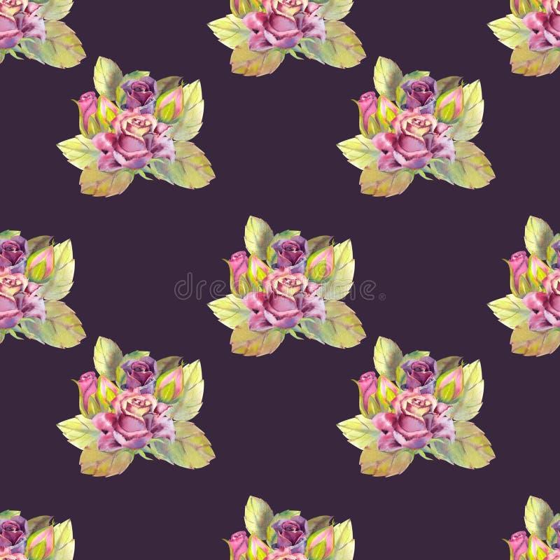 Nahtloses Muster Dunkle rosafarbene Blumen, gr?ne Bl?tter Blumenplakat, Einladung Aquarellzusammensetzungen lizenzfreie abbildung