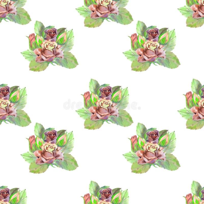 Nahtloses Muster Dunkle rosafarbene Blumen, gr?ne Bl?tter Blumenplakat, Einladung Aquarellzusammensetzungen f?r Gru?karte oder stock abbildung