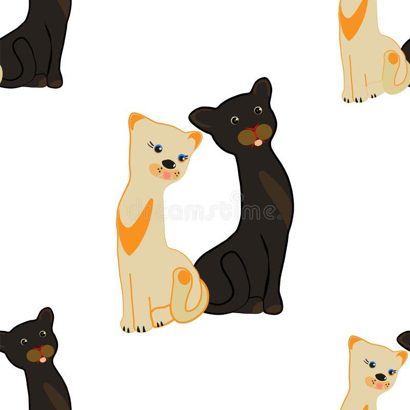 Nahtloses Muster Ein Paar schlanke Katzen auf einem weißen Hintergrund lizenzfreie stockfotos