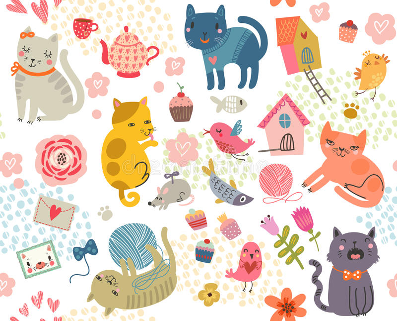 Nahtloses Muster Ein Satz nette Katzen und Vögel vektor abbildung