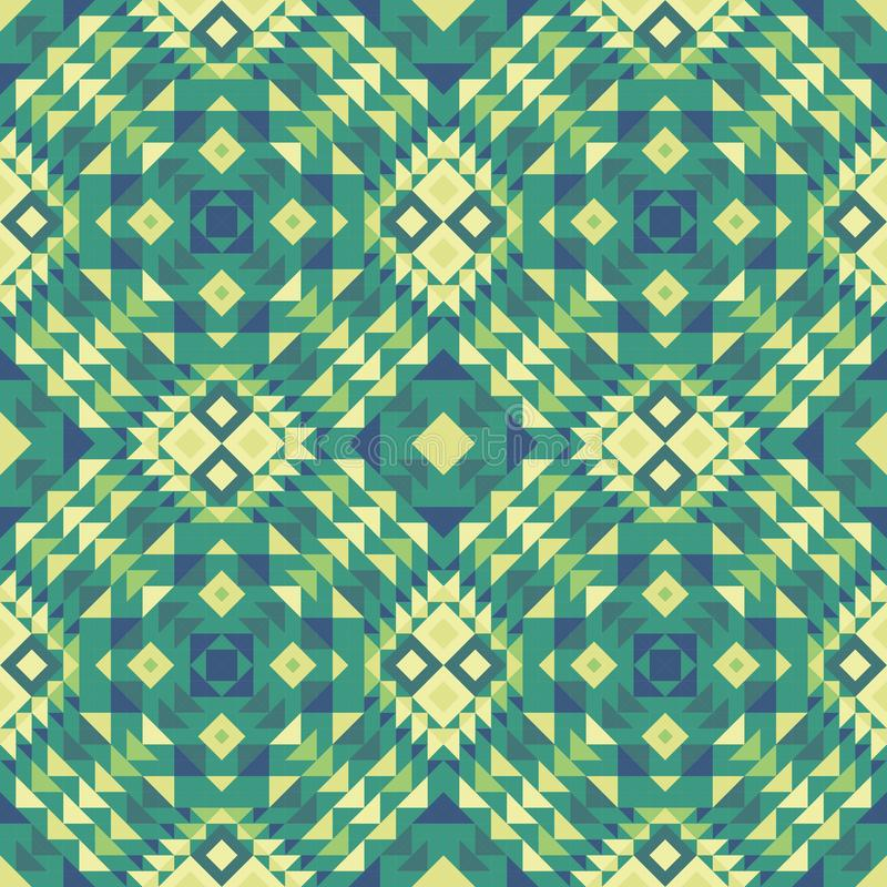 Nahtloses Muster eines mexikanisch-ähnlichen ethnischen Gewebes in den grünen Farben vektor abbildung