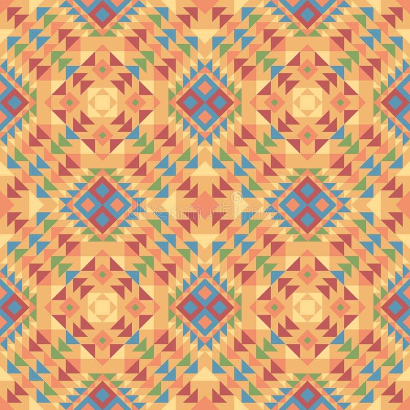 Nahtloses Muster eines mexikanisch-ähnlichen ethnischen Gewebes in den orange Farben stock abbildung