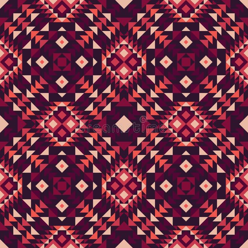 Nahtloses Muster eines mexikanisch-ähnlichen ethnischen Gewebes in den purpurroten Farben stock abbildung