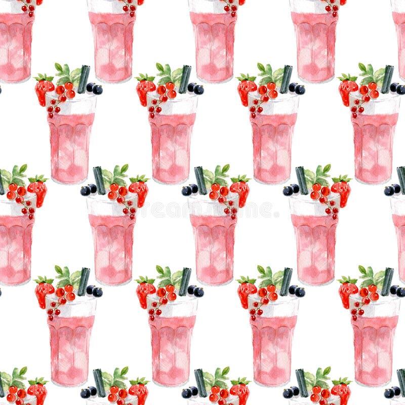 Nahtloses Muster eines rosafarbenen Cocktails mit Schaumstoff, mit Erdbeeren, schwarzen und roten Johannisbeeren dekoriert Wasser lizenzfreie stockfotos