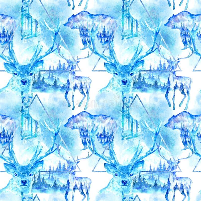 Nahtloses Muster eines Rotwild-, Hase- und Bärnschattenbildes lizenzfreie abbildung