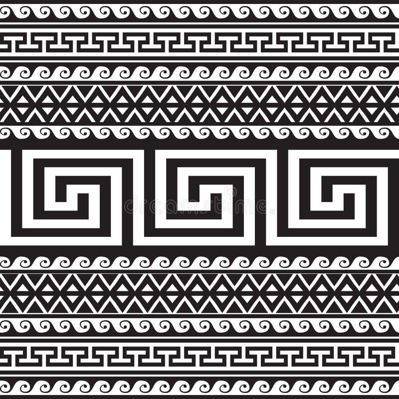 Nahtloses Muster ethnische der Art Stammes- griechische Grenz Geometrischer gestreifter Schwarzweiss-Hintergrund Griechischer Sch stock abbildung