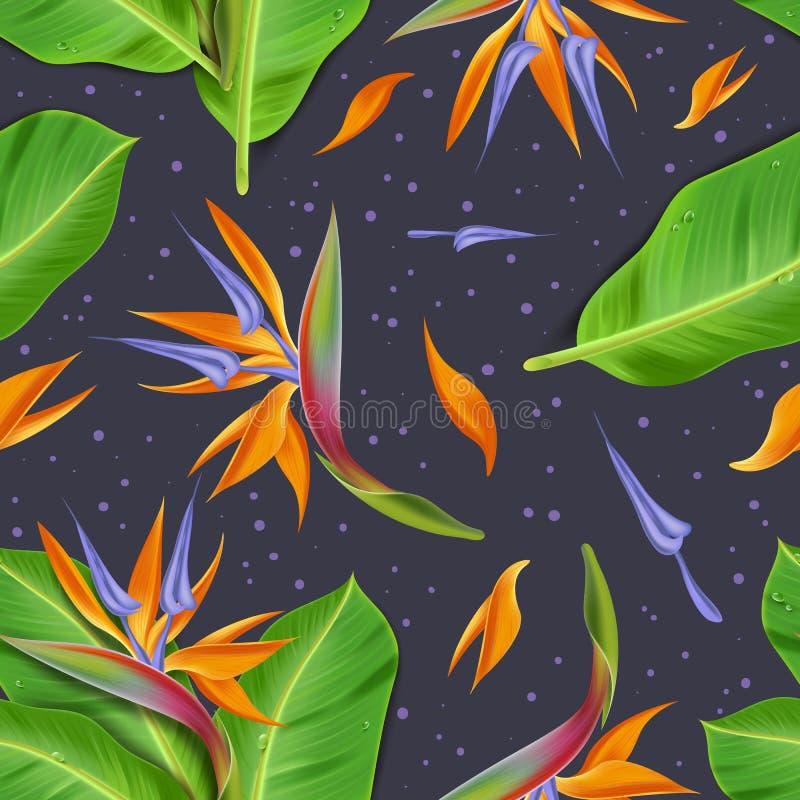 Nahtloses Muster exotischer Blumen Raelistic stock abbildung