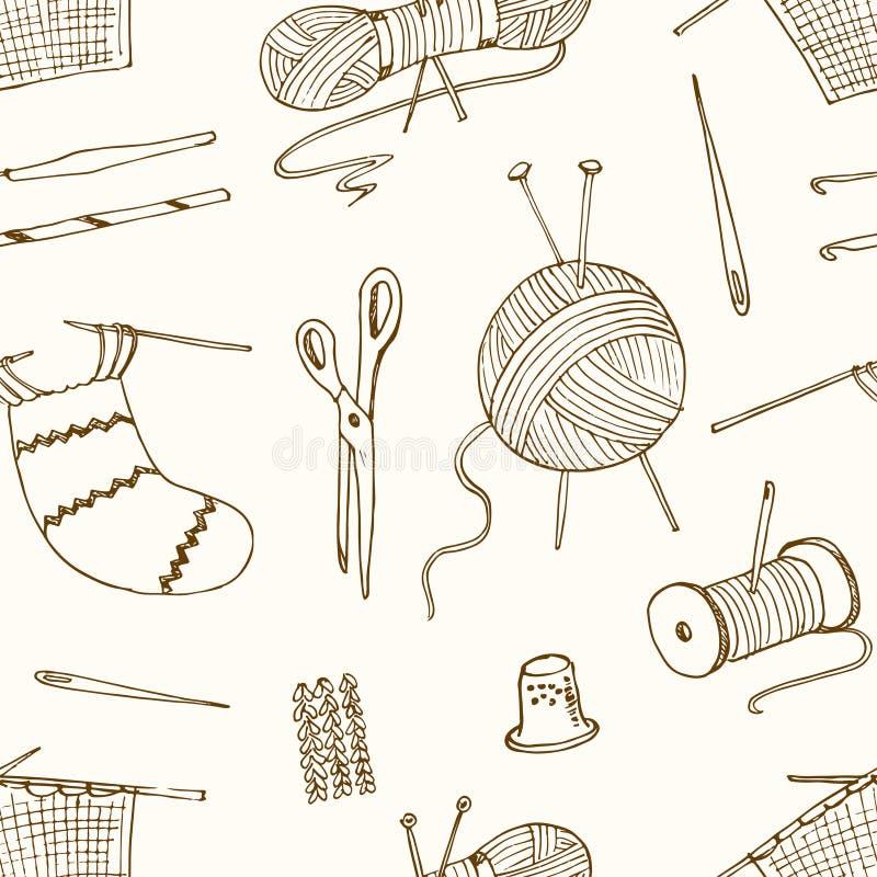Nahtloses Muster Für Das Nähen, Strickend, Handwerk, Hobbys Vektor ...