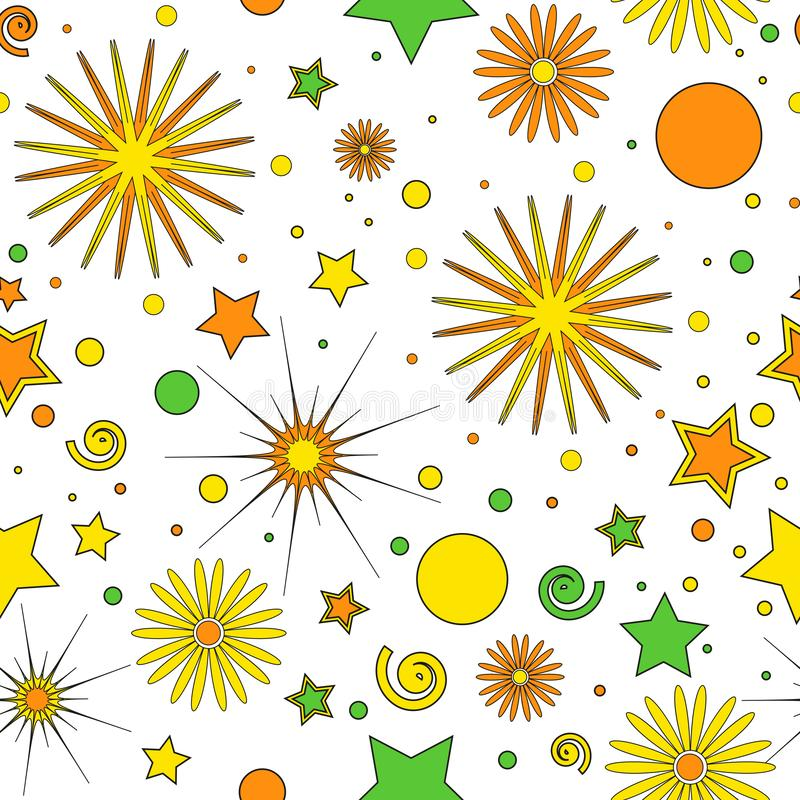 Nahtloses Muster f?r die Einzelteile der Kinder von orangegelben und gr?nen Punkten, Sterne, Locken und Blumen, auf einem wei?en  lizenzfreie abbildung