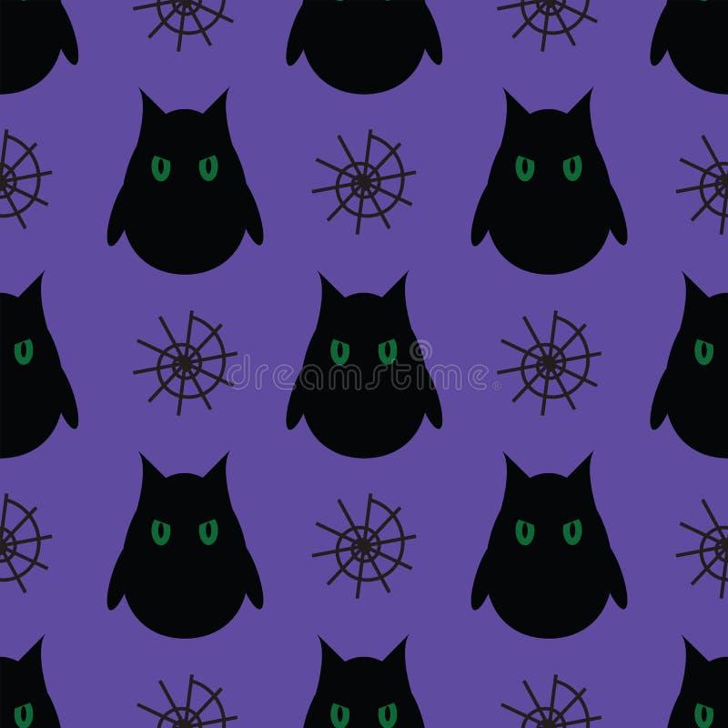 Nahtloses Muster für Halloween Eulen- und Spinnennetz auf purpurrotem BAC stock abbildung