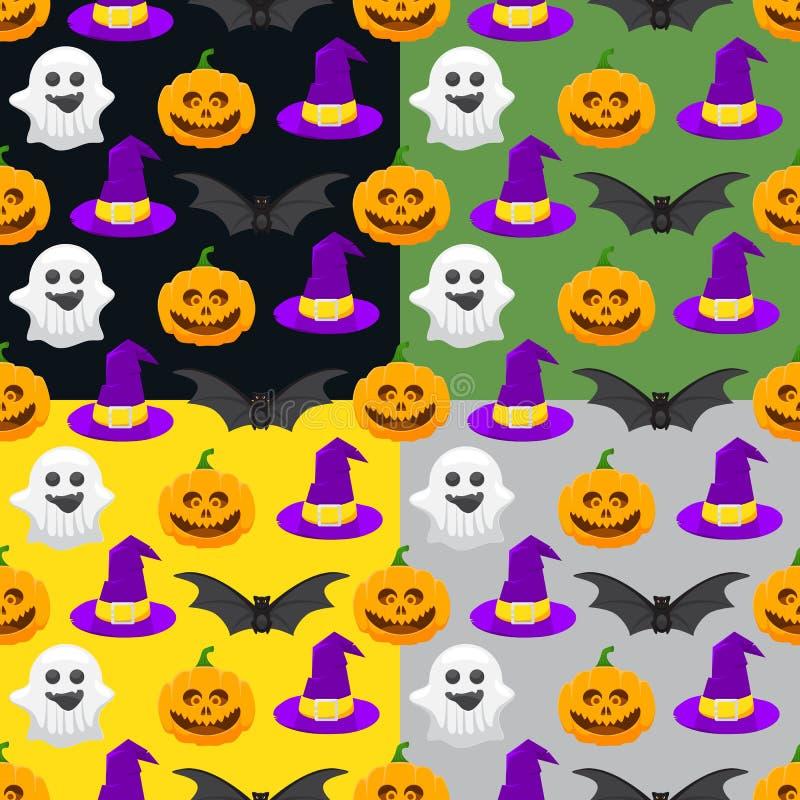 nahtloses Muster für Halloween, Kürbis, Geist, Hexenhut stock abbildung