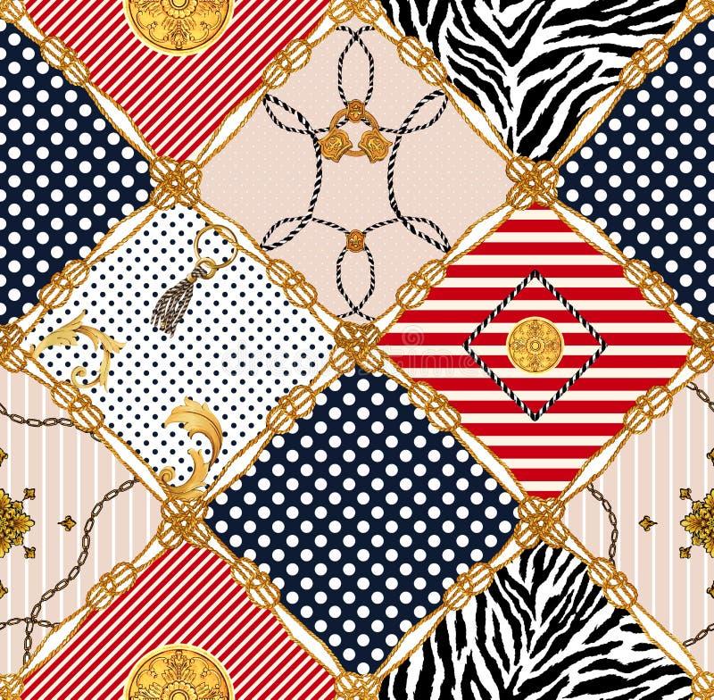 Nahtloses Muster, farbiger Hintergrund, goldenes Seil mit farbigen Diamantformen stock abbildung