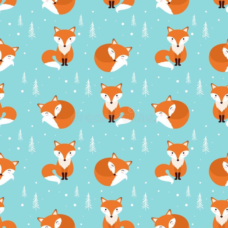 Nahtloses Muster Fox auf einem blauen Hintergrund stock abbildung