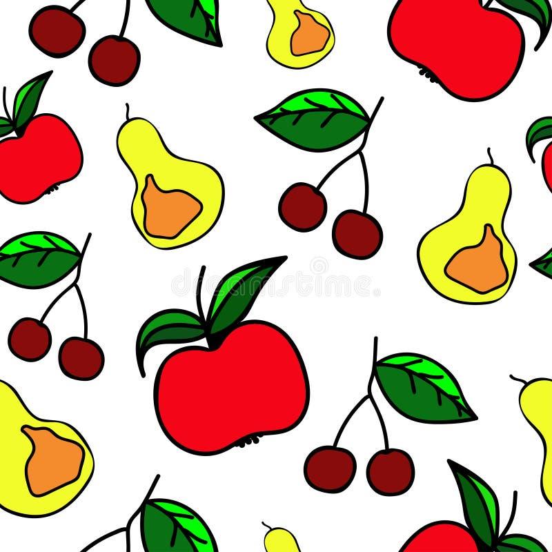 Nahtloses Muster Fruchtikonenvektor stockbilder