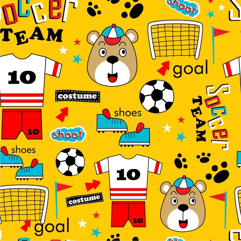 Nahtloses Muster, Fußballteam-Freundlustige Tierkarikatur, Vektorillustration vektor abbildung