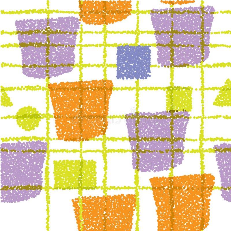 Nahtloses Muster Gelbe, orange und purpurrote Beschaffenheit mit Formen und Streifen Abstrakter Vektorhintergrund für Webseite, F lizenzfreie abbildung