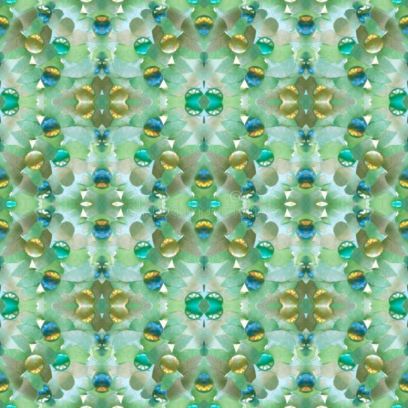 Nahtloses Muster gemacht von vielen Stücken heftigen Papier- und dekorativen Glassteinen stock abbildung