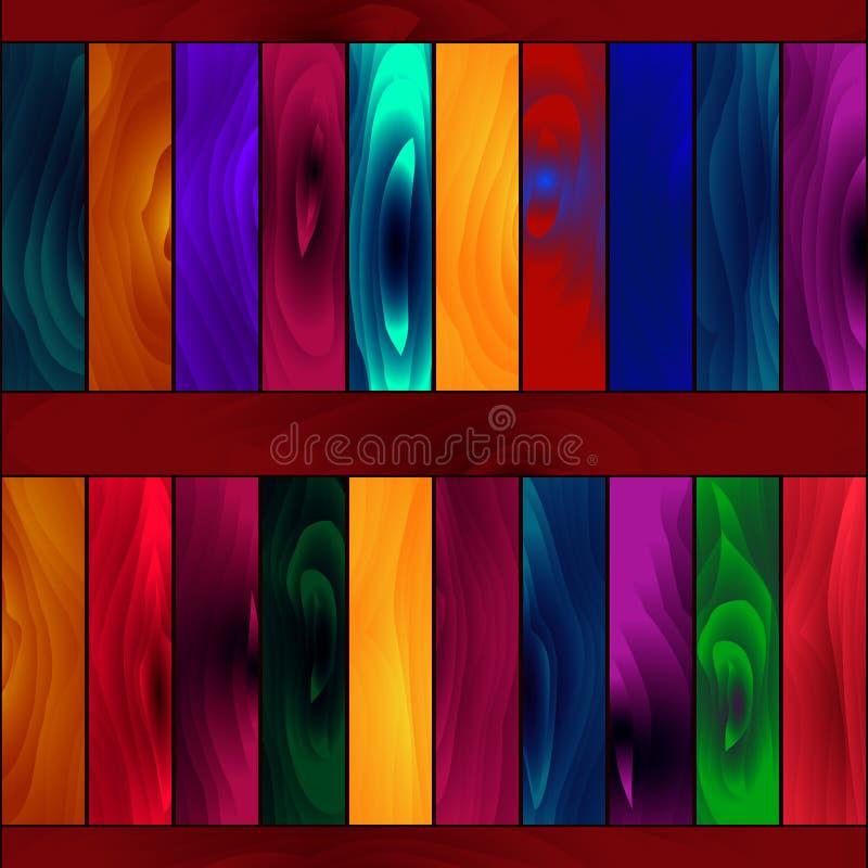 Nahtloses Muster, glühende farbige hölzerne Bretter der Farbe stock abbildung