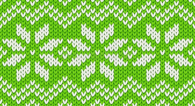 Nahtloses Muster grünen Vektor realistischen Knit mit weißen Schneeflocken und Zickzackverzierung lizenzfreie abbildung