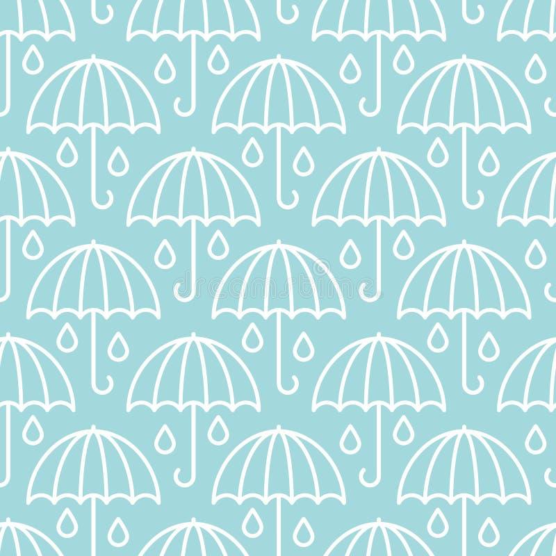 Nahtloses Muster-große grafische Regenschirm-Regentropfen blau und weiß lizenzfreie abbildung