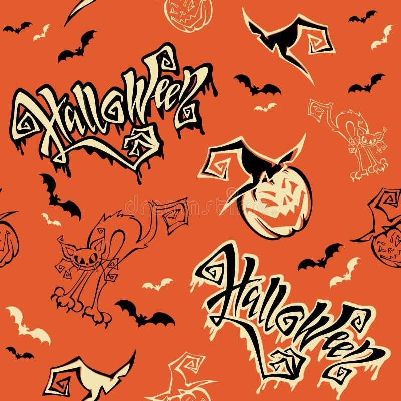 Nahtloses Muster Halloween beschriftung Lustiges Karikaturkürbismonster im Hexenhut hieb Katzenmonster Orange Hintergrund Vektor vektor abbildung