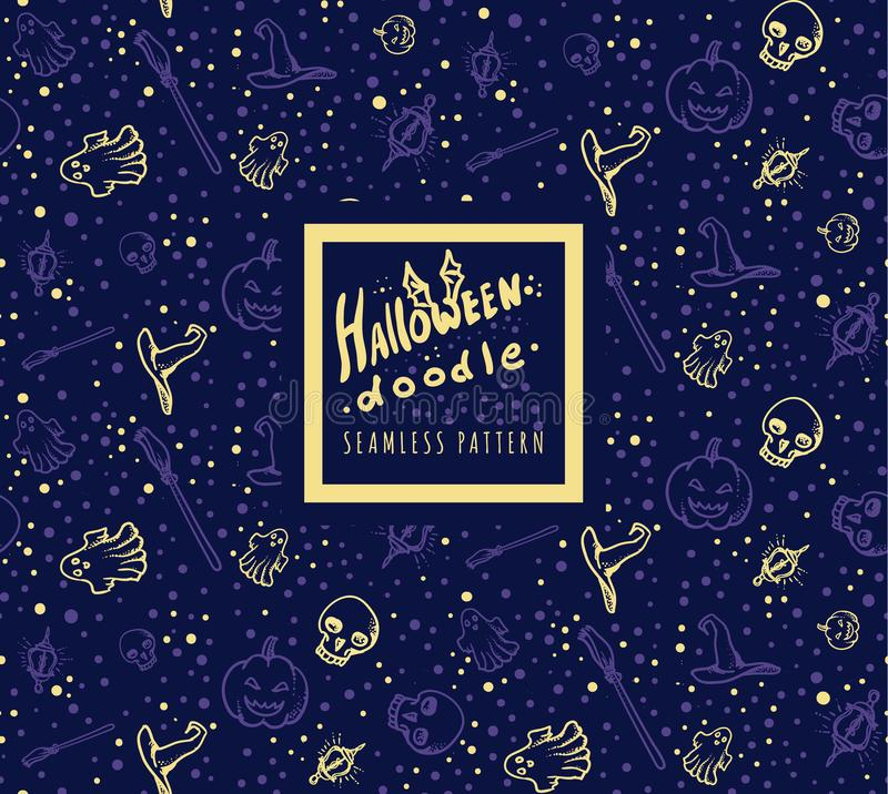 Nahtloses Muster Halloween-Gekritzels stockfotos