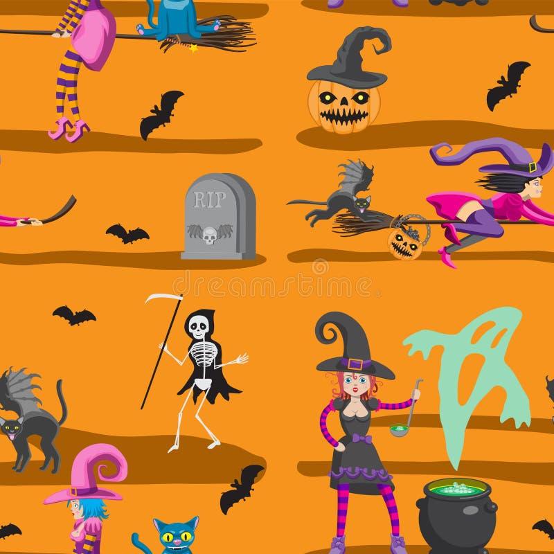 Nahtloses Muster - Halloween Hexen kehren Katzenskelettfinanzanzeigen-Kürbisschläger auf orange Hintergrund Design von Gru?karten vektor abbildung