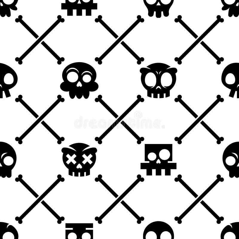 Nahtloses Muster Halloween-Schädels, mexikanische nette schwarze Schädel mit den Knochen entwerfen, Hintergrund Dia de Los Muerto stock abbildung