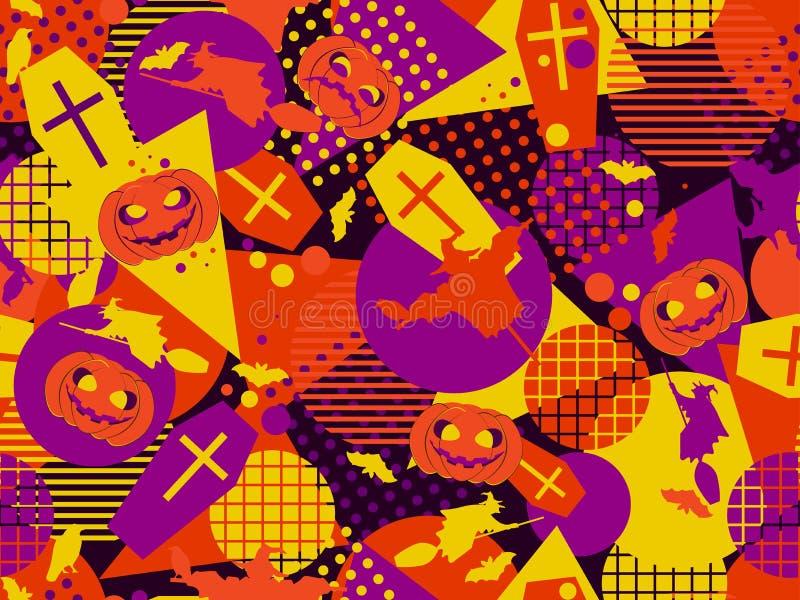 Nahtloses Muster Halloweens Memphis Festlicher Hintergrund mit mystischen Geschöpfen und geometrischen Zahlen ein Memphis vektor abbildung