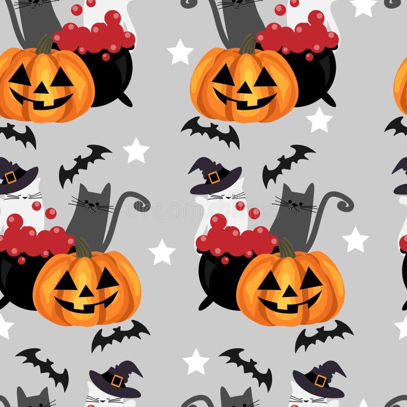 Nahtloses Muster Halloweens mit Halloween-K?rbis vektor abbildung
